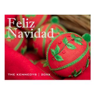 Feliz Navidad - verde/decoración roja del Postal