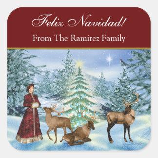 Feliz Navidad Victorian Personalized Gift Stickers