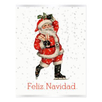 Feliz Navidad Vintage Red Santa Skating Spanish Postcard