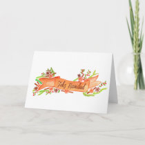 Feliz Navidad, watercolor Christmas banner Holiday Card