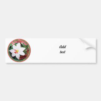 Feliz Navidad - White Poinsettia Car Bumper Sticker