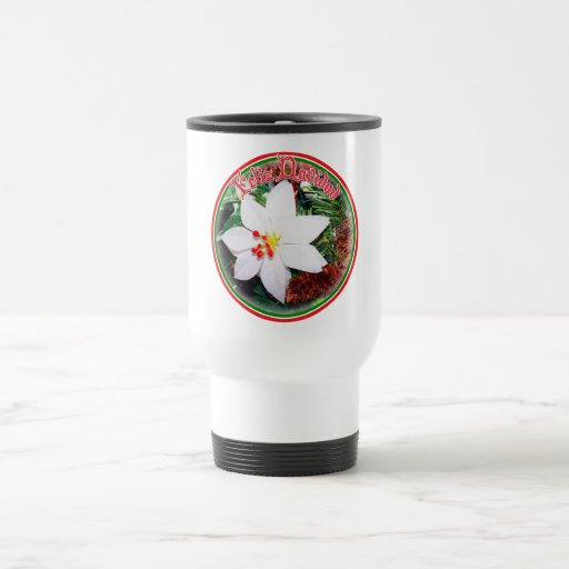 Feliz Navidad - White Poinsettia Coffee Mugs