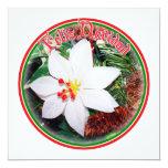 Feliz Navidad - White Poinsettia Custom Invitation