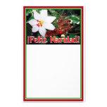 Feliz Navidad - White Poinsettia Custom Stationery