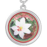 Feliz Navidad - White Poinsettia Necklace