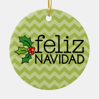 Feliz Navidad with green chevrons Double-Sided Ceramic Round Christmas Ornament