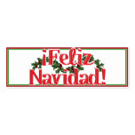 Feliz Navidad With Holly Double-Sided Mini Business Cards (Pack Of 20)