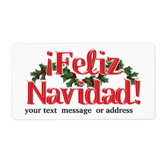 Feliz Navidad With Holly Label