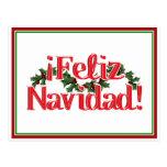 Feliz Navidad with Holly Post Card