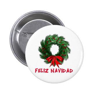 Feliz Navidad Wreath 2 Inch Round Button