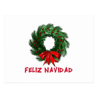 Feliz Navidad Wreath Postcard