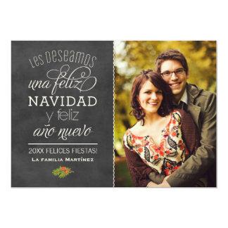 Feliz Navidad y Año Nuevo Deseos | Negro Pizarra Card