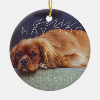 Feliz Navidog | Holiday Photo Ceramic Ornament