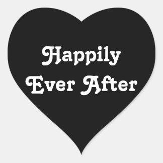Feliz nunca - corazón simple para la recepción pegatinas de corazon personalizadas