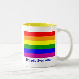 Feliz nunca después de/boda gay taza de dos tonos