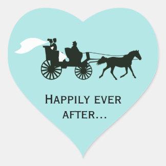 Feliz nunca después de casar a los pegatinas del calcomania de corazon