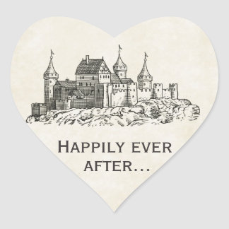 Feliz nunca después de casar a los pegatinas del pegatina en forma de corazón