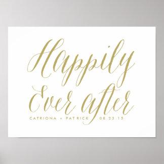 Feliz nunca después de casar el oro del poster el