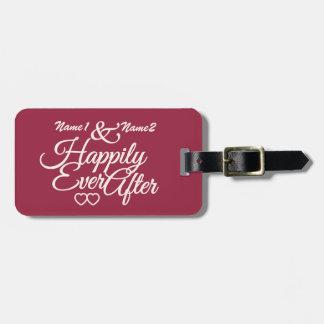 Feliz nunca después de etiqueta de encargo del equ etiquetas para equipaje