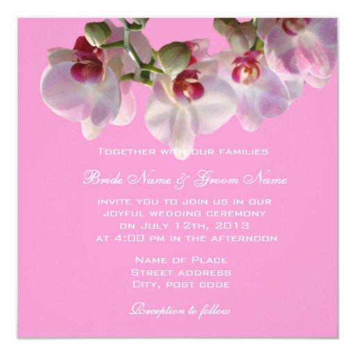 """Feliz nunca después de las orquídeas que casan invitación 5.25"""" x 5.25"""""""
