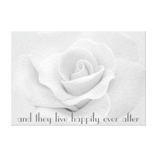 Feliz nunca después de lona envuelta del rosa blan impresión en lienzo