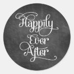 Feliz nunca después de pizarra pegatina redonda