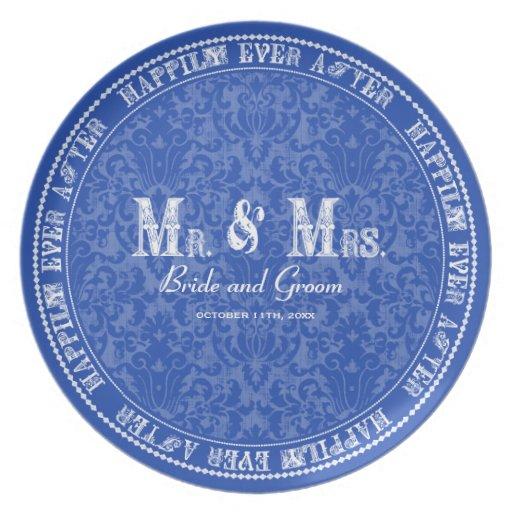 Feliz nunca después de Sr. y de la señora placas d Plato De Cena