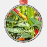 Feliz ornamento de la pimienta de chile de Chritma Ornamentos De Navidad