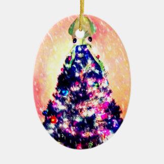Feliz ornamento del árbol de navidad del calamar adorno navideño ovalado de cerámica