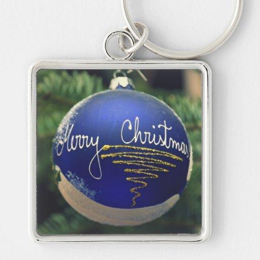 Feliz ornamento del árbol de navidad llavero cuadrado plateado