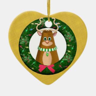 Feliz ornamento del corazón de la guirnalda del ornamentos de navidad