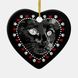 Feliz ornamento del corazón de Yule del gato negro Adorno Navideño De Cerámica En Forma De Corazón