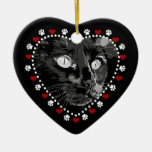 Feliz ornamento del corazón de Yule del gato negro Adornos De Navidad
