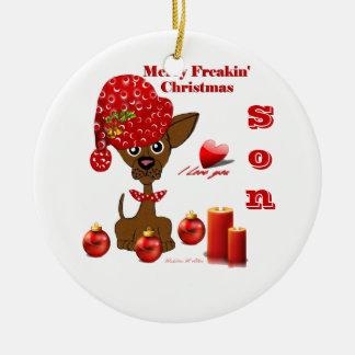 Feliz ornamento del hijo del navidad de Freakin Adorno Redondo De Cerámica