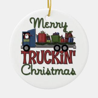 Feliz ornamento del navidad de Truckin Adorno Redondo De Cerámica