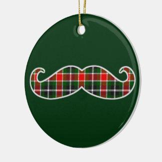 Feliz ornamento del navidad del bigote adorno navideño redondo de cerámica