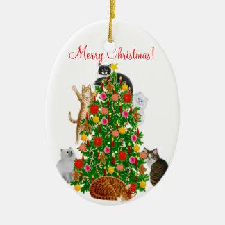 Feliz ornamento del navidad del gato del gatito adorno navideño ovalado de cerámica