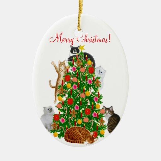Feliz ornamento del navidad del gato del gatito adorno para reyes