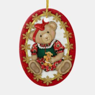 Feliz ornamento del oso de peluche de Beary - óval Adorno De Reyes