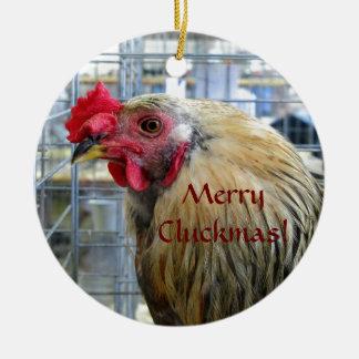 Feliz ornamento del pollo de la demostración de adorno redondo de cerámica