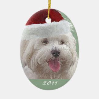 Feliz ornamento maltés personalizado del navidad adornos