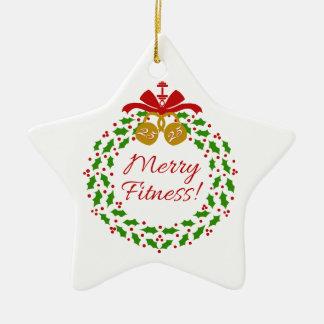 Feliz ornamento personalizado de la estrella de la adorno navideño de cerámica en forma de estrella