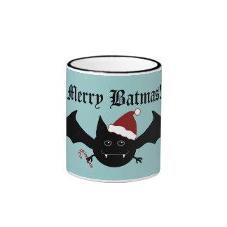 Feliz palo gótico tonto de Batmas en azul Taza De Café
