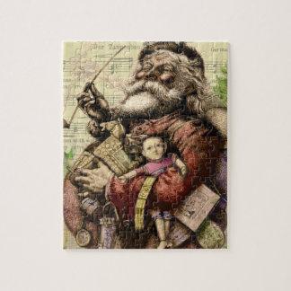 Feliz Papá Noel y el árbol de navidad Puzzle