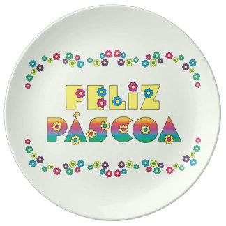 Feliz Páscoa com Flores Porcelain Plate