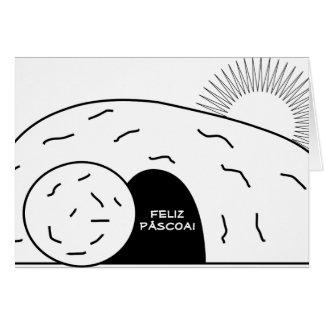 Feliz Páscoa Pascua feliz portuguesa Cristo subido Tarjeta De Felicitación