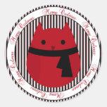 Feliz pegatina negro rojo del búho del navidad de