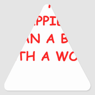 feliz pegatina triangular