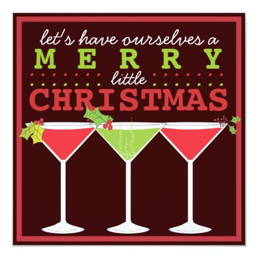 Feliz pequeña invitación del cóctel del navidad