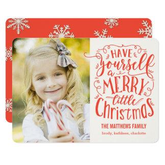 """Feliz pequeña tarjeta de la foto del día de fiesta invitación 5"""" x 7"""""""